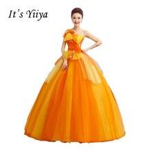 It's Yiiya Orange Strapless Wedding Dresses Ball Gown Appliques Floor Length Color Bridal Frock Vestidos De Novia CasamentoHL020