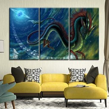 HD Prints Home Decor Modern Canvas Painting 3 Piece Cartoon Tsing Dragon And Starry Sky Poster Wall Artwork Modular Picture