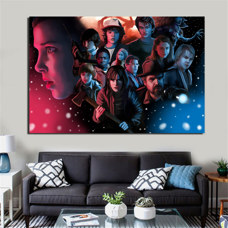 Stranger Things Character Wallpaper Canvas Painting Posters Prints Marble Wall Art Painting Decorative Picture Modern Home Decor in Painting Calligraphy from Home Garden