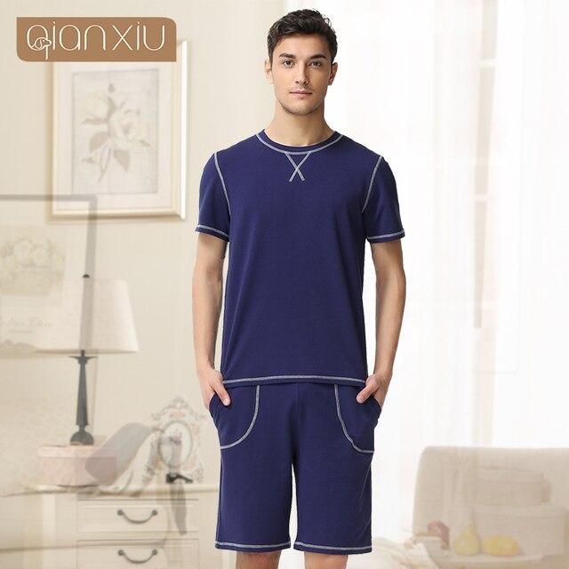 Qianxiu Cotton Pajama Sets For Men Knitted Short Sleeve Lounge Wear Casual Homewear