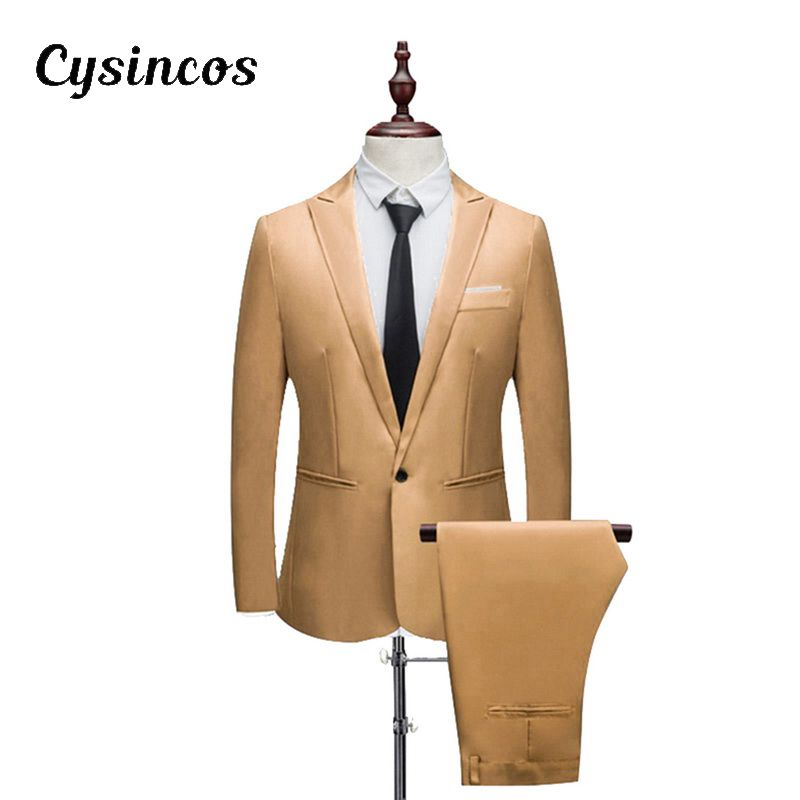 CYSINCOS Male Suit Blazers Boutique-Suit Three-Piece Custom Autumn Large-Size Spring