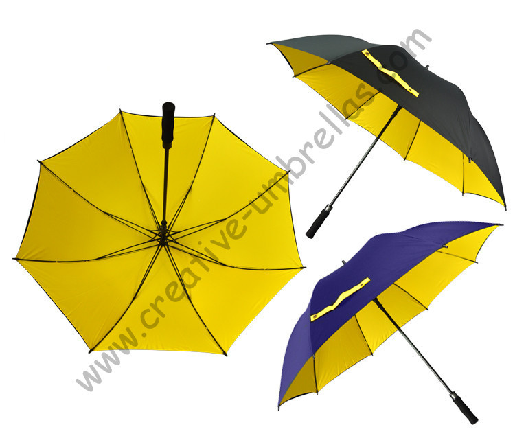 Free shipping by EMS 3pcs/lot golf umbrella visible double layers fabric fiberglass frame,auto open Pongee,anti static