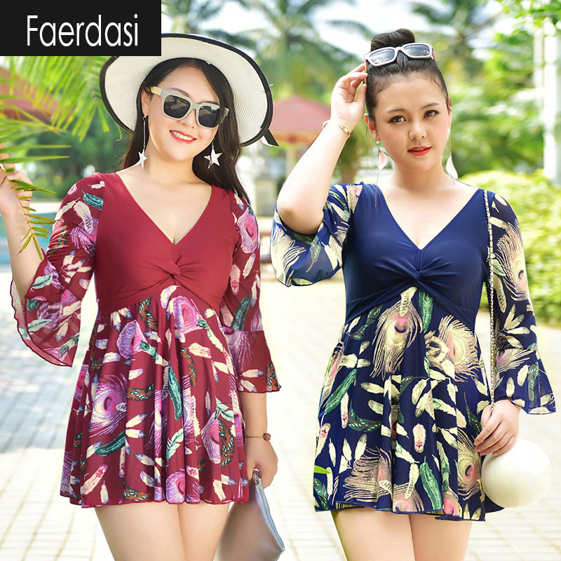 ФОТО faerdasi Swimsuit For Girls Plus Size One Piece Swimwear Women Feather Patchwork Women's Swimming Suit V-neck Large Size Dress