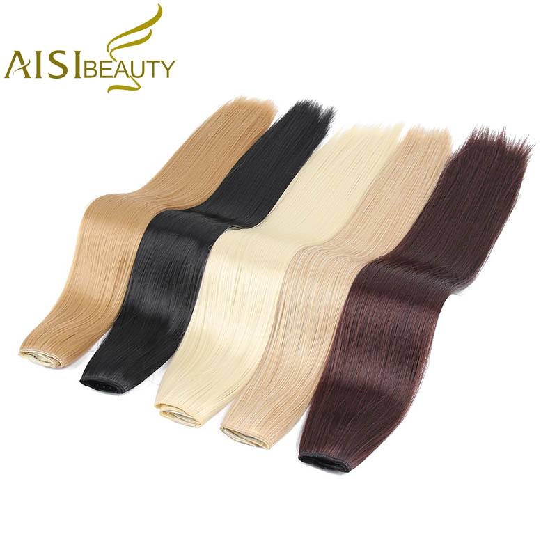 AISI BEAUTY 23inch Long Silky Straight Clip in Hair Extensions Black Brown High Tempreture Synthetic Hairpiece