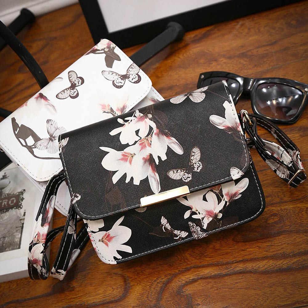 Wanita Floral Kulit Tas Bahu Tas Tas Tangan Retro Messenger Tas Terkenal Desainer Clutch Tas Bolsa Tas Hitam # P