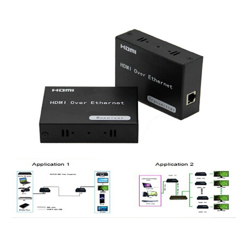 HDMI Extender Transmitter Receiver 120M 720P 1080P IR Remote Over cat5e 6 TCP IP Support One