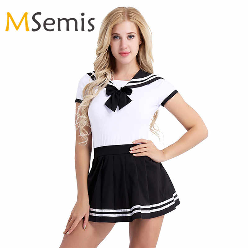 1a06552b36 Halloween Costumes for Women Sexy Roleplay Baby Diaper Lover School Girls  Snap Crotch Romper with Pleated