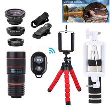Buy online 8X Zoom Lens Telescope Telephoto Lenses Microscope+Tripod Clips+Monopod+Fisheye Wide Angle Macro Lens For iPhone 4 5 5C 5S 6S 7