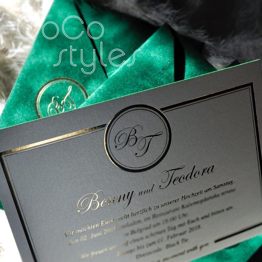 Wedding Invitations High End: Cocostyles Bespoke Luxury Gold Foiling Velvet Envelope