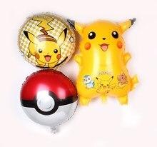 3 unids Pikachu go foil Globos inflable helio Globos niños juguetes Feliz  cumpleaños Globos fuentes del partido globos helio a3edd4c34acd8