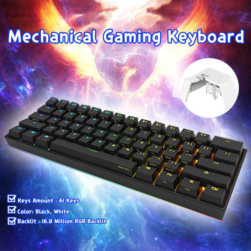 Anne Pro2 Nirkabel Bluetooth Mini Portable 60% Mechanical Keyboard Kailh Saklar Kotak Biru Coklat Switch Gaming Keyboard Yang Bisa Dilepas
