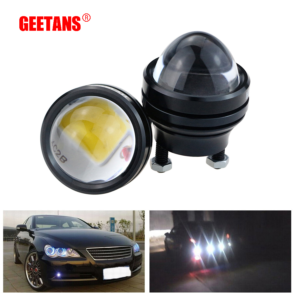 GEETANS 1 pair 15W 12V Super Bright LED Light Eagle Eye Daytime Running Light DRL Lights Waterproof Parking DC12V For Audi DE geetans newest 10pcs led eagle light eye car fog light drl daytime running lights reverse backup signal parking black silver be