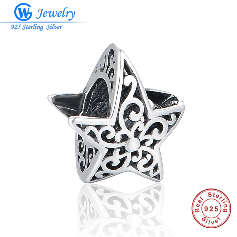 Really 925 Sterling Silver Hollow Star With Red Stone Fit Pandora Charms Silver 925 Original Bracelet DIY Women Jewelry Making