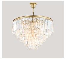 Золото Американский Стиль Ретро люстры светодиодный кристалл освещение для Гостиная Спальня зале отеля Ресторан Обеденная Мода