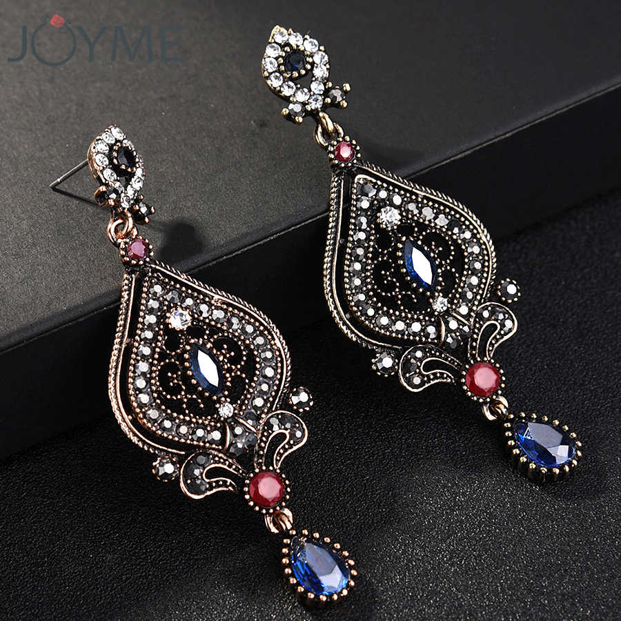 Joyme Ethnic Style Vintage Women Blue Crystal Long Turkish Earrings Acrylic Jewelry Chandelier Flower Pendientes Wedding