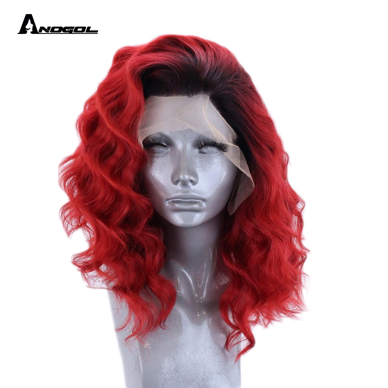 Anogol High Temperature Fiber Short Loose Beach Waves Black Roots Ombre Red Bob Synthetic Lace Front Wig Free Part For Women