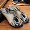 Handmade Retro Genuína Mulheres De Couro Chinelos Perto Do Dedo Do Pé Chinelos Conforto Casual Mocassin Femmes Sandália Plana Sapatos Femininos de Verão