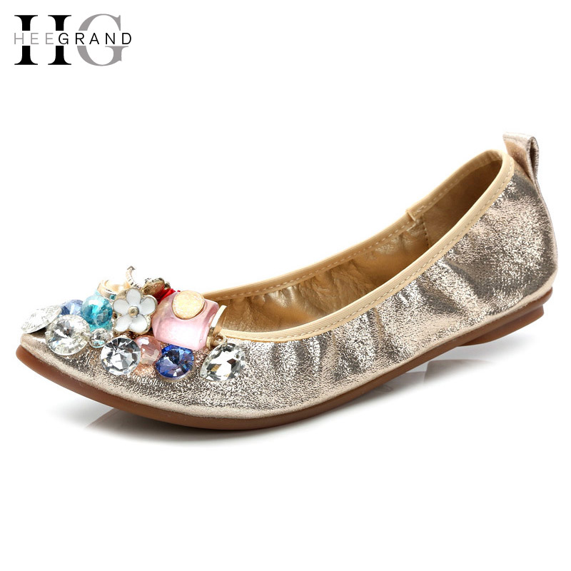 HEE GRAND Women Ballet Flats For Summer Colored Crystal Slip On Loafers Spring Soft Flat Ladies Shoes Woman Size 35-40 XWD5065 flat shoes women pu leather women s loafers 2016 spring summer new ladies shoes flats womens mocassin plus size jan6