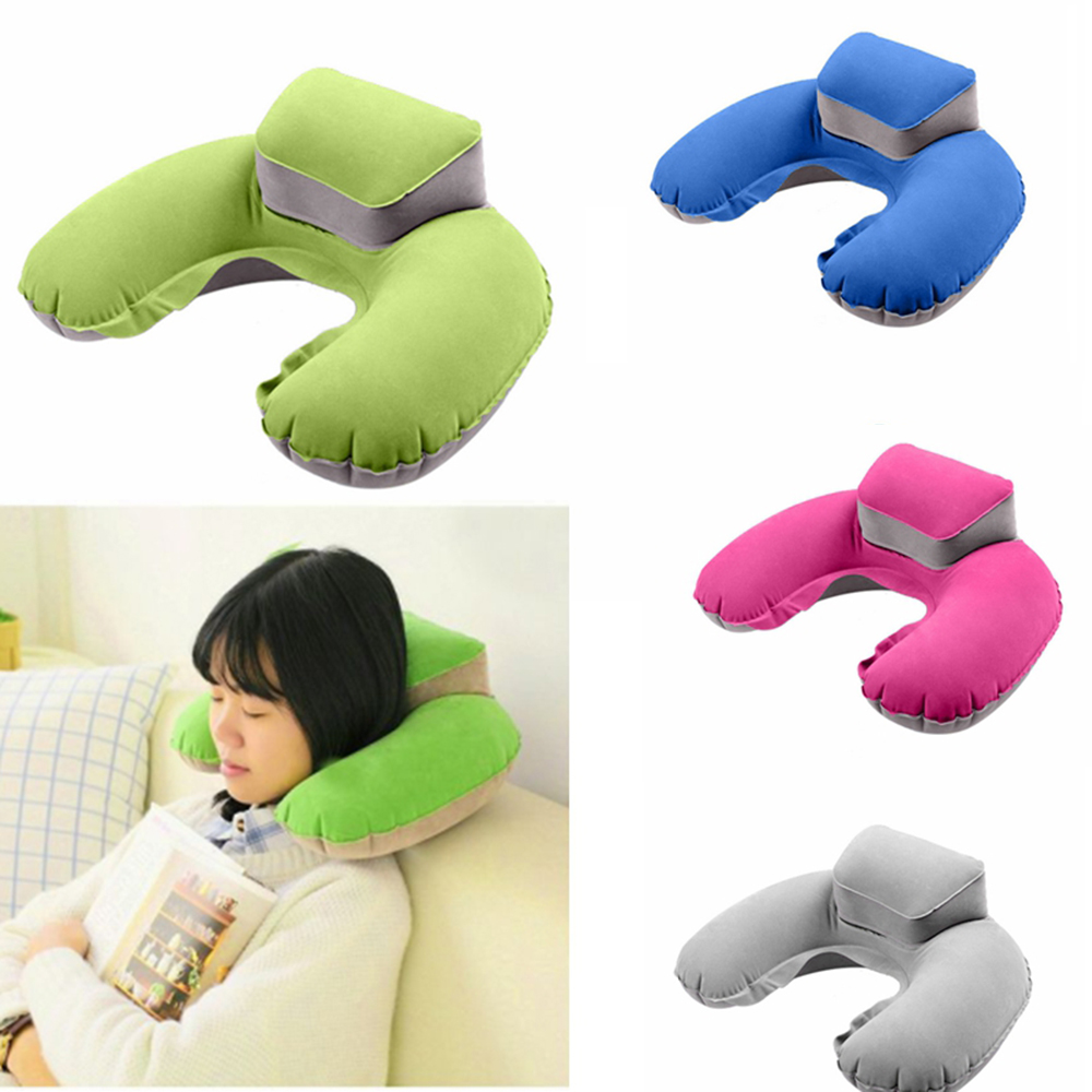 Portable Travel Pillow Inflatable Neck Pillow U Shape Blow Up Neck Cushion PVC Flocking Pillow for Flight Travel 2017 Hot Sale