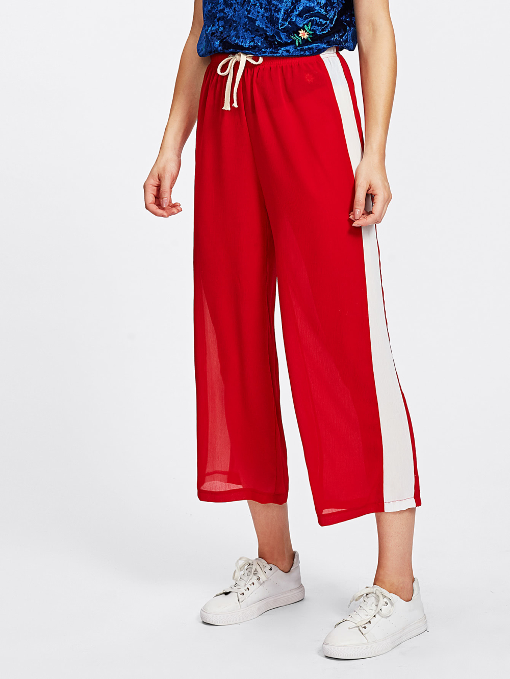 White Striped   Wide     Leg     Pants   Loose Trousers For Women Baggy Bottoms Girls Long Crop   Pants   Casual Loose   Pants   Black Red