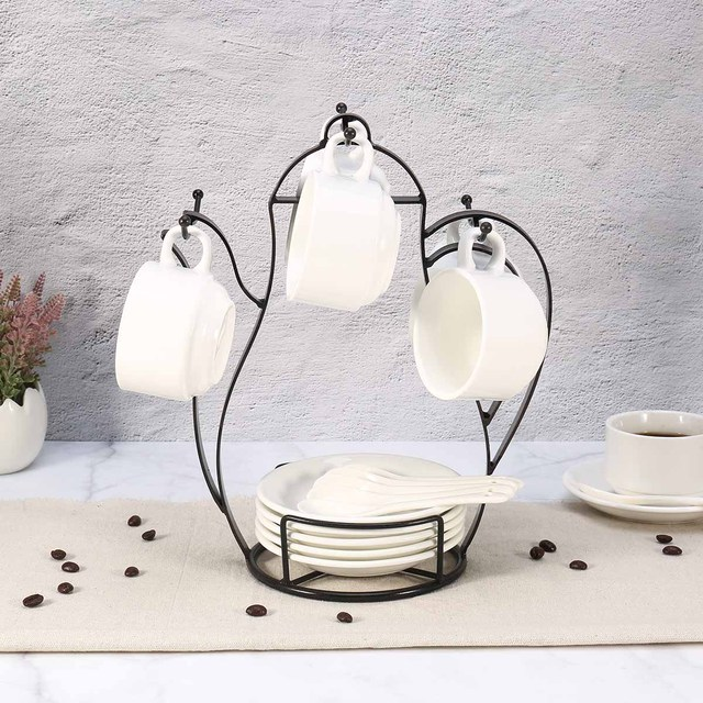 Us 2169 35 Offmug Stand Vintage Metal Kettle Shaped Coffee Mug Tree Holder Countertop Or Pantry Wire Tree Stand For Coffee Glasses And Cups In