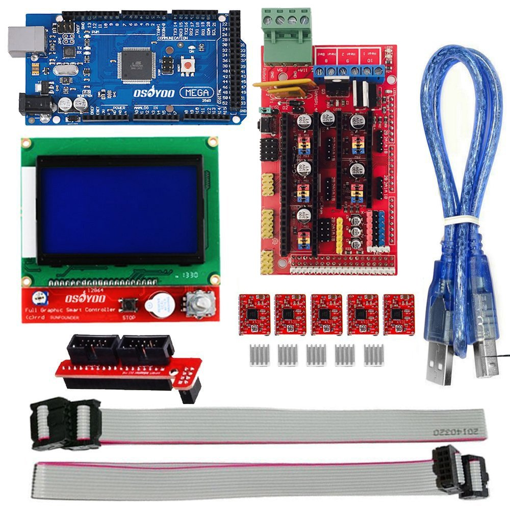3D Printer Kit RAMPS 1.4 Controller + Mega 2560 board + 5pcs A4988 Stepper Motor Driver + LCD 12864 For Arduino RepRap image