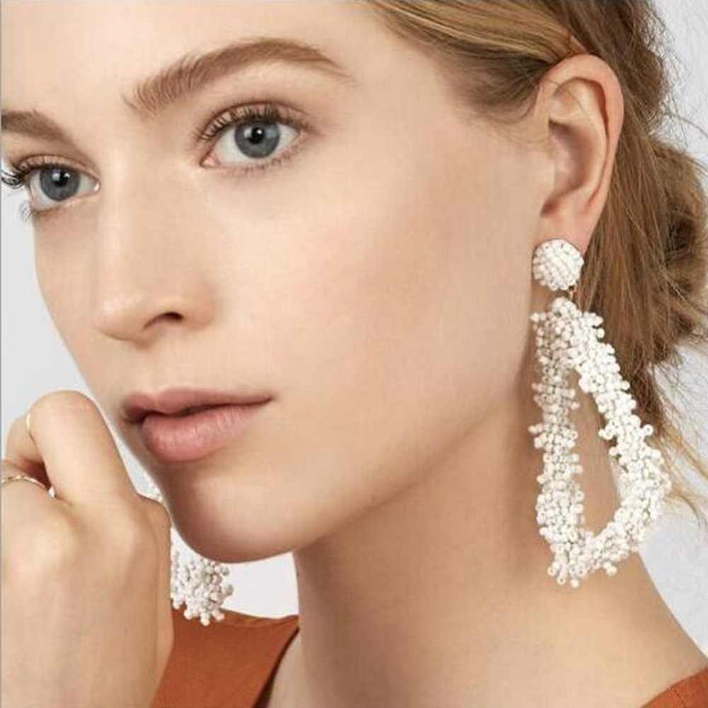 ผู้หญิงที่ดีที่สุด 2019 Trendy Handmade ลูกปัด Drop ต่างหูเครื่องประดับต่างหูผู้หญิงดอกไม้สีขาวลูกปัดพู่ต่างหู