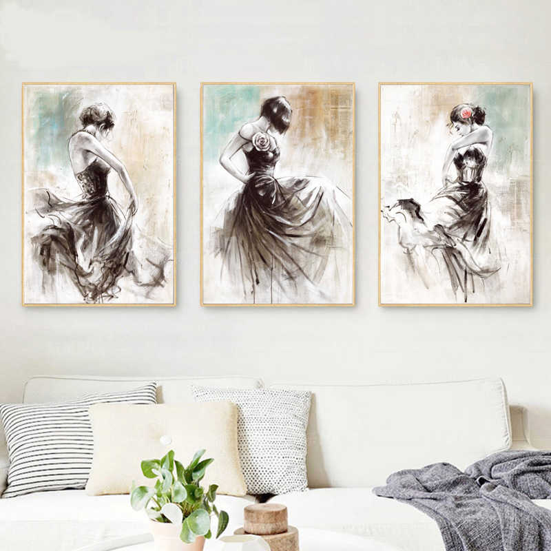 Abstract Hand Painted Oil Painting on Canvas Wall Art Dancing Girl Posters Print Wall Pictures for Living Room Decor Frameless