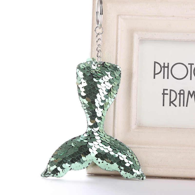 Mermaid Tail พวงกุญแจ Sequins Keyring ตกแต่งจี้สำหรับกระเป๋ารถคีย์โทรศัพท์อุปกรณ์เสริมงานแต่งงานของขวัญแม่