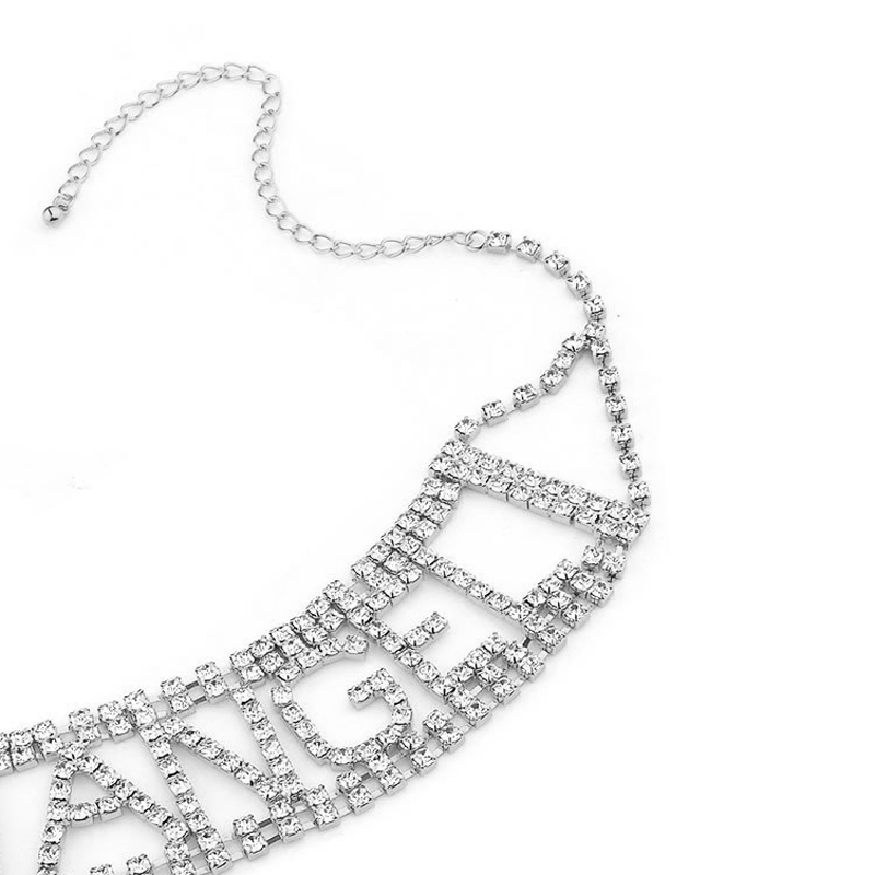 ANGEL Rhinestone choker letter Necklace for Women crystal statement Chocker Necklace luxury jewellery party Collier Femme Islamabad