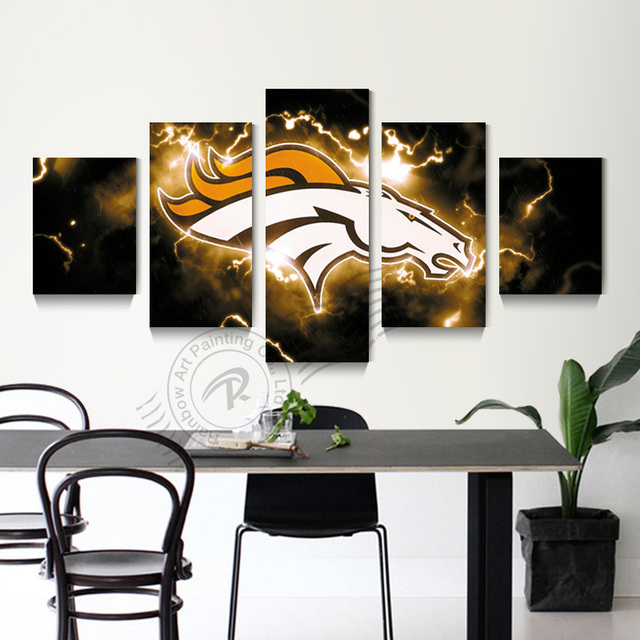 5 Panel Denver Broncos Sport Logo Wall Painting Canvas Art Home Decor Picture For Living