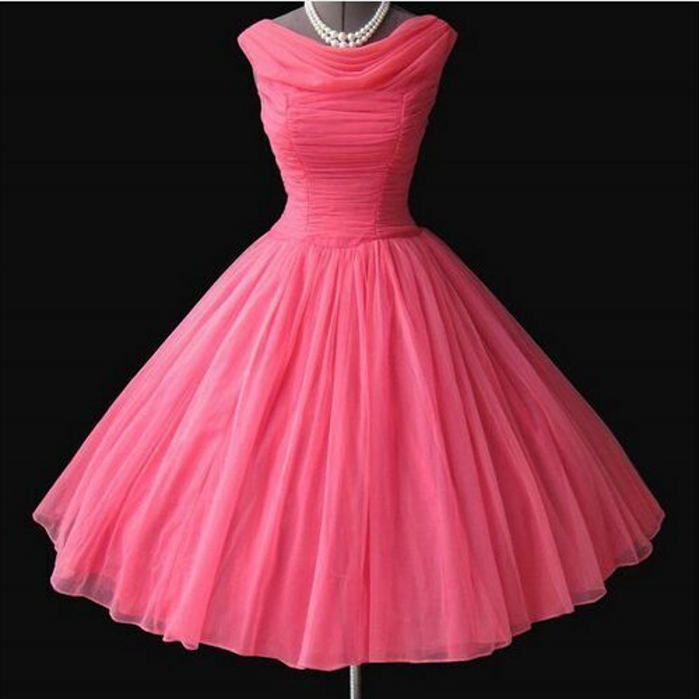 iLoveWedding A Line Cocktail Dresses Formal Rose Red Tulle Scoop Sleeveless Pleat Zipper Knee Length Party