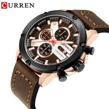 CURREN Casual Business Leather Strap Military Waterproof Quartz Mens Wristwatch Fashion Brand Chronograph Clock Male Relojes