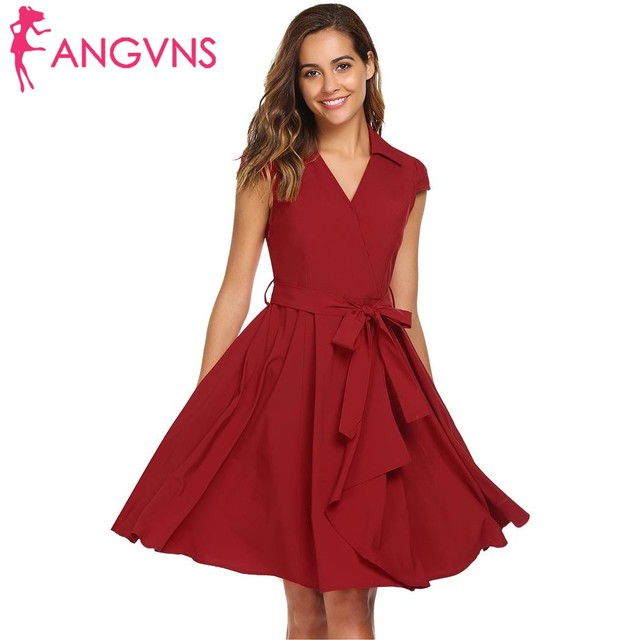ANGVNS Women Vintage Dresses Retro 1950s 60s Pleated V-Neck Turn Down  Collar Cap Sleeve Faux Wrap Party Swing Dress with Belt f5e2aca01ae6