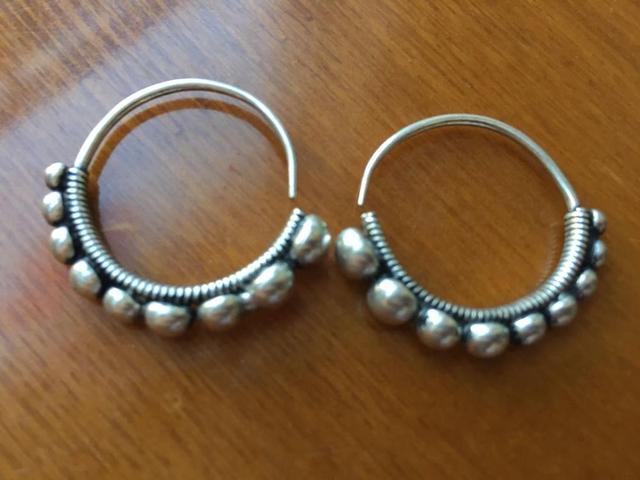 New Ethnic Miao Tibet Silver Circle Pattern Dangle Earrings T052