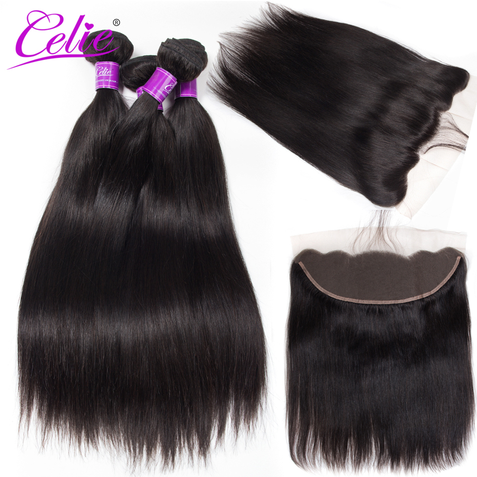 Celie Hair Straight Hair Bundles With Frontal Peruvian Hair Frontal With Bundles 5Pcs Lot Remy Human