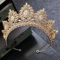 Baroque Bride Crown Headwear Fashion Golden Crown Bridal Marriage Garment Hair Accessories 2019 Wedding Headband Headpieces