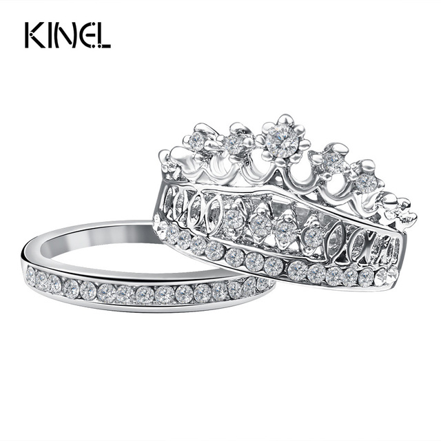 Aliexpress Buy Fashion 2016 Crown Wedding Rings For Women Silver Plated