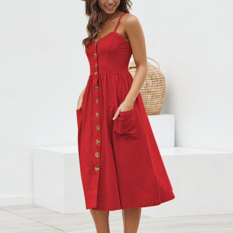 CUERLY Women Summer Dress 2019 Sexy Straps Bohemian Floral Beach Dress Girls Fashion CUERLY Print Pocket Sundress CUERLY in Dresses from Women 39 s Clothing