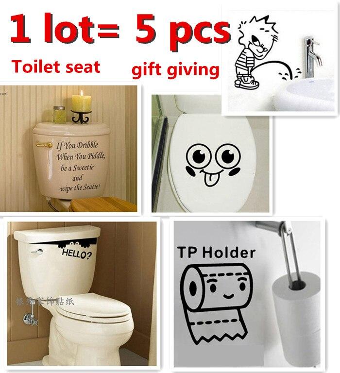 5pcs/set Cartoon English Toilet Wall Sticker Bathroom Home