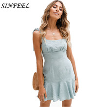 New 2018 Summer style fashion women sexy backless plaid dresses Elegant Party Beach Casual slim ruffles mini vestido