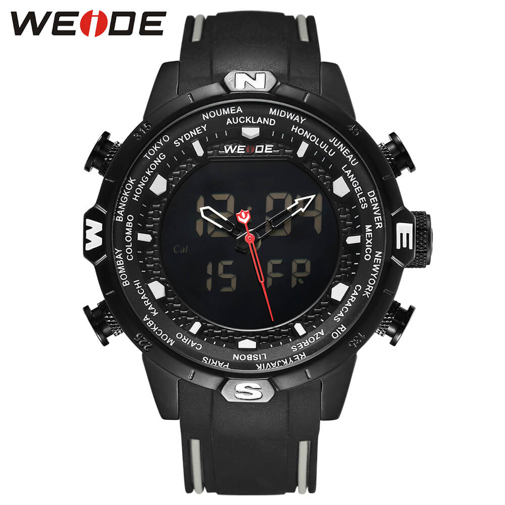 WEIDE Genuine LCD digital waterproof men's Quartz  watch men sport watches luxury brand clock saat fitness bracelet Analog 6310 weide popular brand new fashion digital led watch men waterproof sport watches man white dial stainless steel relogio masculino