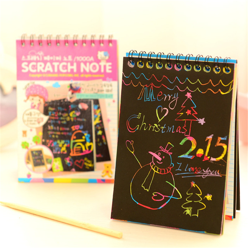 Scratch Notebook Coil Graffiti Note Book Black Page Cute Magic DIY Drawing Book Painting Notepad For Kids Stationery Gift