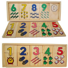 цена на Wooden Digital Number Matching Plate Children Math Teaching Abacus Baby Educational Early Learning Toy Understanding Number