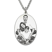 Wholesale Personalized Sterling Silver Photo Engraved Necklace Oval Photo Necklace Memorial Jewelry Gift
