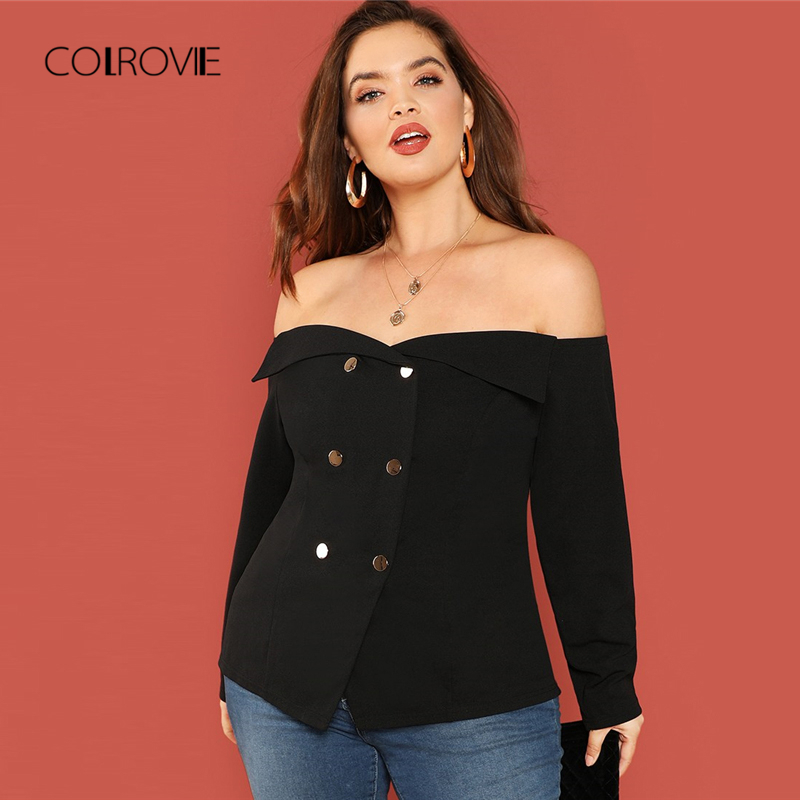COLROVIE Plus Size Black Button Off Shoulder Top Elegant   Blouse     Shirt   2018 Autumn Long Sleeve Office Womens Tops And   Blouses