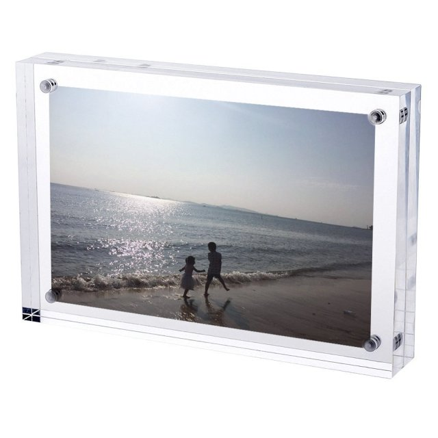 Free Standing Double Sided Display Clear Acrylic Perspex Magnet Photo Block Frames PF003