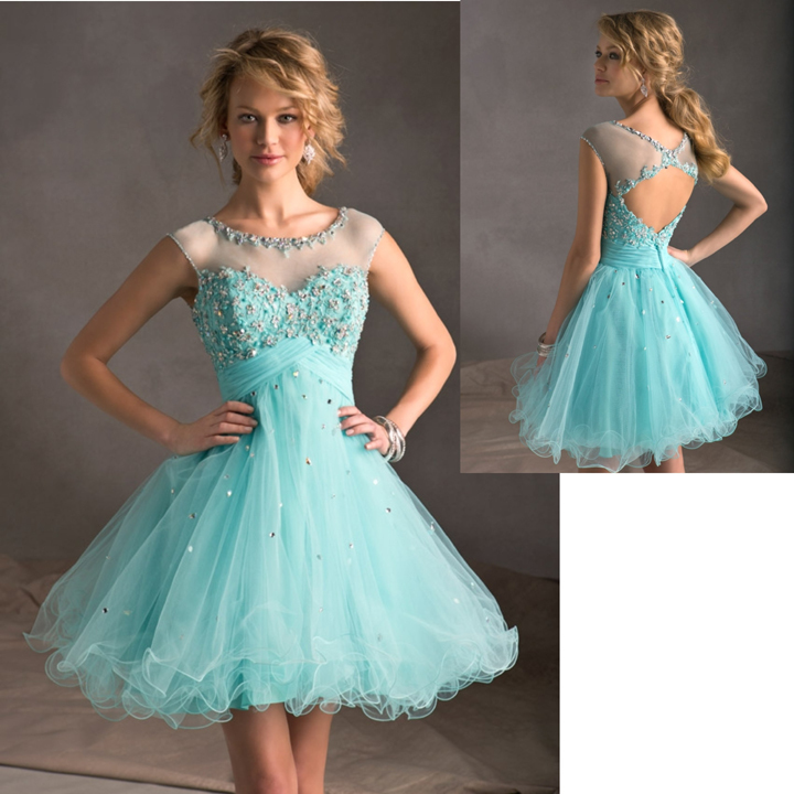Blue Ivory Tulle See Through Neckline Backless Ball Gown Dress ...