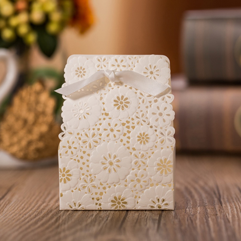 50 Pieceslot Wedding Decorations White Candy Box With Flowers