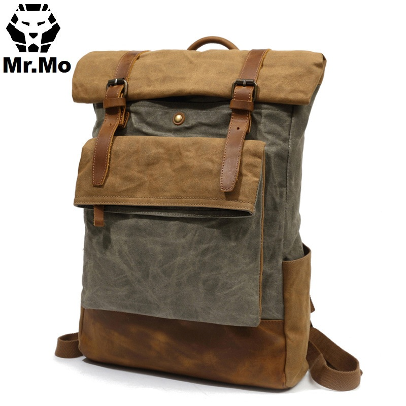 New Waterproof Waxed Canvas Travel Backpack Bag Men Vintage Russian Men's College School Laptop Bookbag Rucksack Back pack Bags xincada men backpack vintage canvas backpack rucksack laptop travel backpacks school back pack shoulder bag bookbag